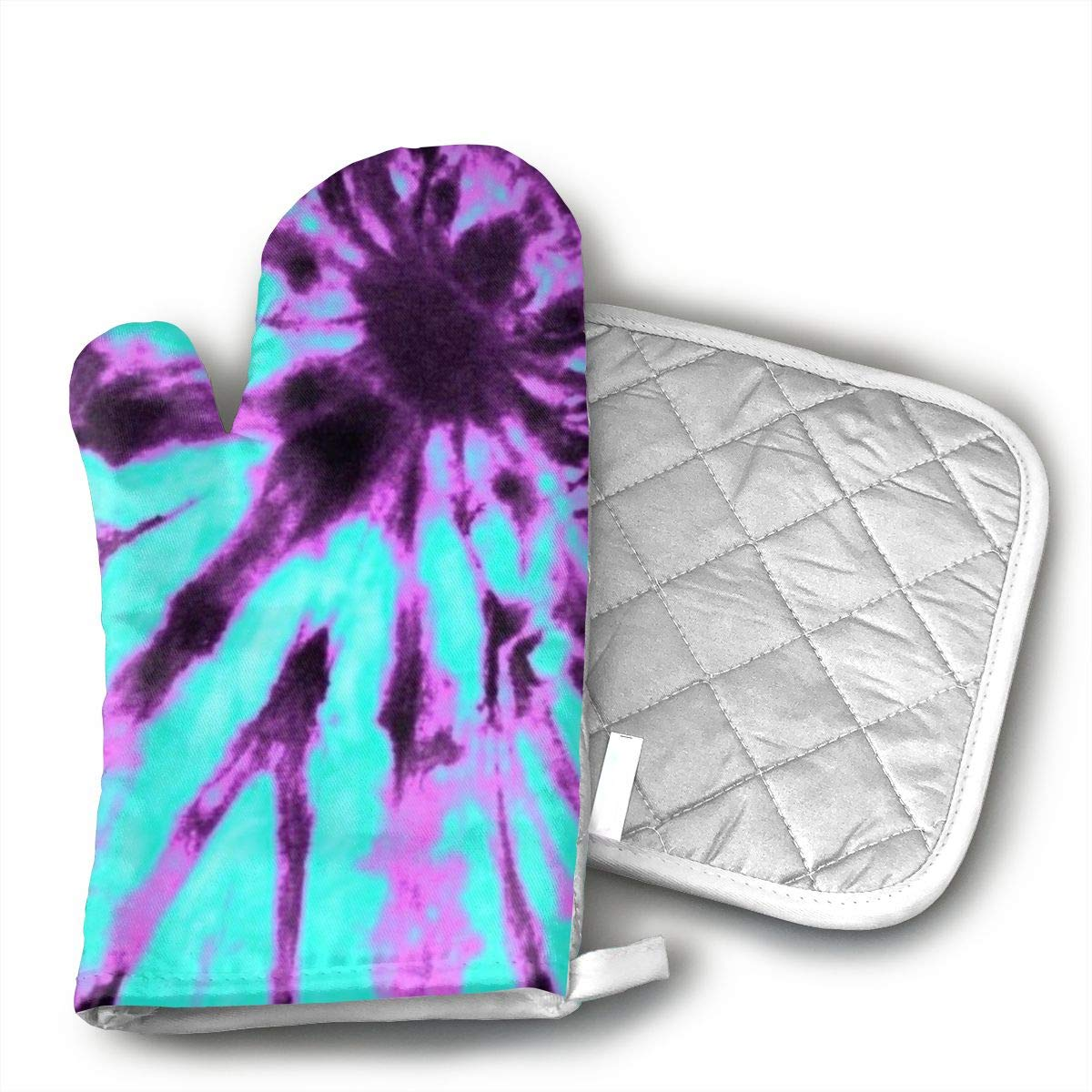 CHWEYAQ Purple and Blue Tie Dye Oven Mitts Heat Resistant Cooking Gloves Non-Slip Waterproof Potholders