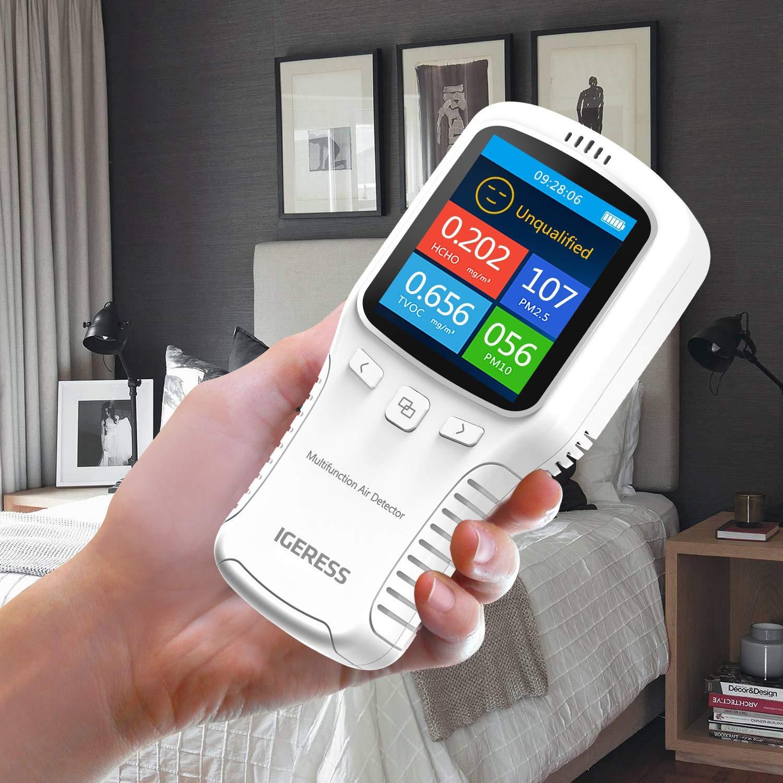 HCHO IGERESS blanc TVOC PM2.5 PM10 D/étecteur de qualit/é de lair am/élior/é avec /écran LCD couleur et syst/ème de fonctionnement multifonction pour le formald/éhyde dint/érieur