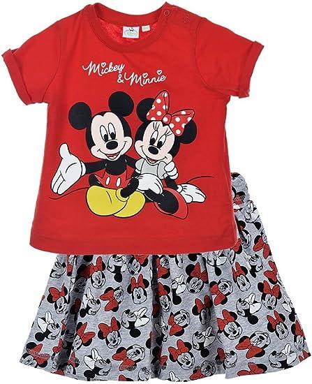 Conjunto Camiseta y Falda para Bebe Minnie Rojo 6 Mes: Amazon.es ...