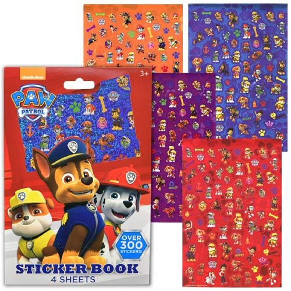 UPD Paw Patrol Sticker Book, 4 Sheets - Over 300 Stickers