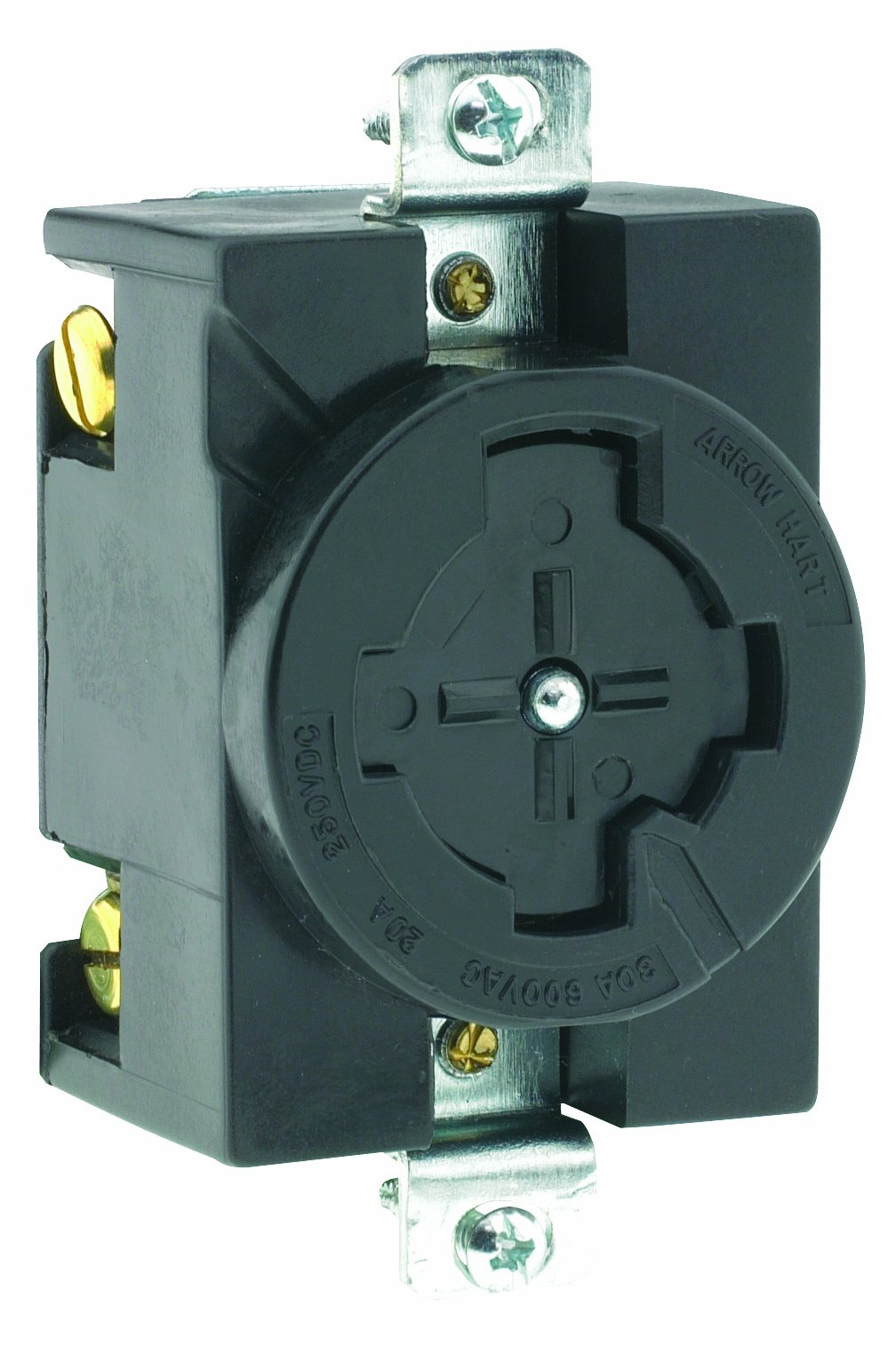 Leviton 20403 30 Amp, 600 Volt AC/20 Amp, 250 Volt DC, 3-Pole 4-Wire Grounding, Single Flush Receptacle