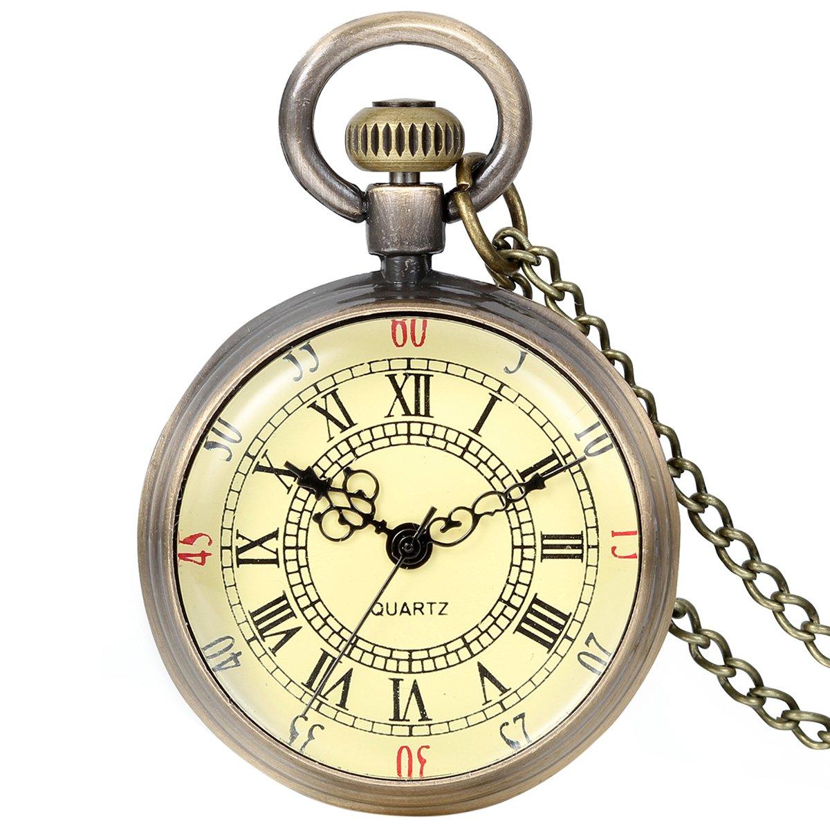 JewelryWe Retro Pocket Watch Vintage Roman Numerals Dial Quartz Transparent Glass Lid Pocket Watch Classic Necklace Pendant
