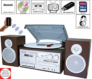 Boytone BT 28SPS, Bluetooth Classic Style Record Player Turntable With  AM/FM Radio