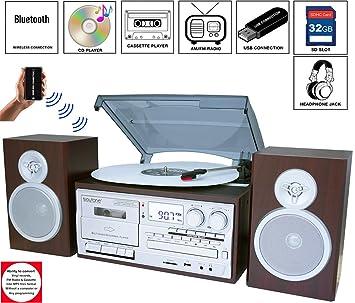 Boytone BT-28SPS, tocadiscos con Bluetooth estilo clásico con ...