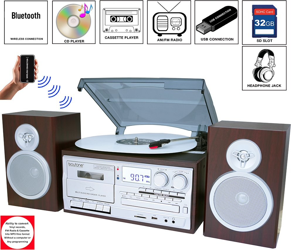 Boytone BT-28SPS, Bluetooth Classic Style Record Player Turntable with AM/FM Radio, Cassette Player, CD Player, 2 Separate Stereo Speakers, Record Vinyl, Radio, Cassette to MP3, SD Slot, USB, AUX by Boytone