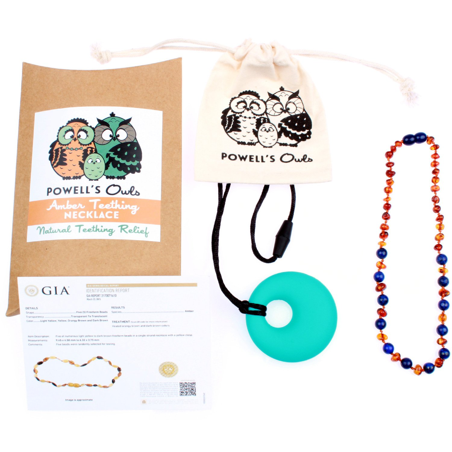 Baltic Amber Teething Necklace Gift Set + Free Silicone Teething Pendant ($15 Value) Handcrafted, 100% USA Lab-Tested Authentic Amber - All Natural Teething Pain Relief (Lapis/Cognac - 12.5 Inches) by Powell's Owls