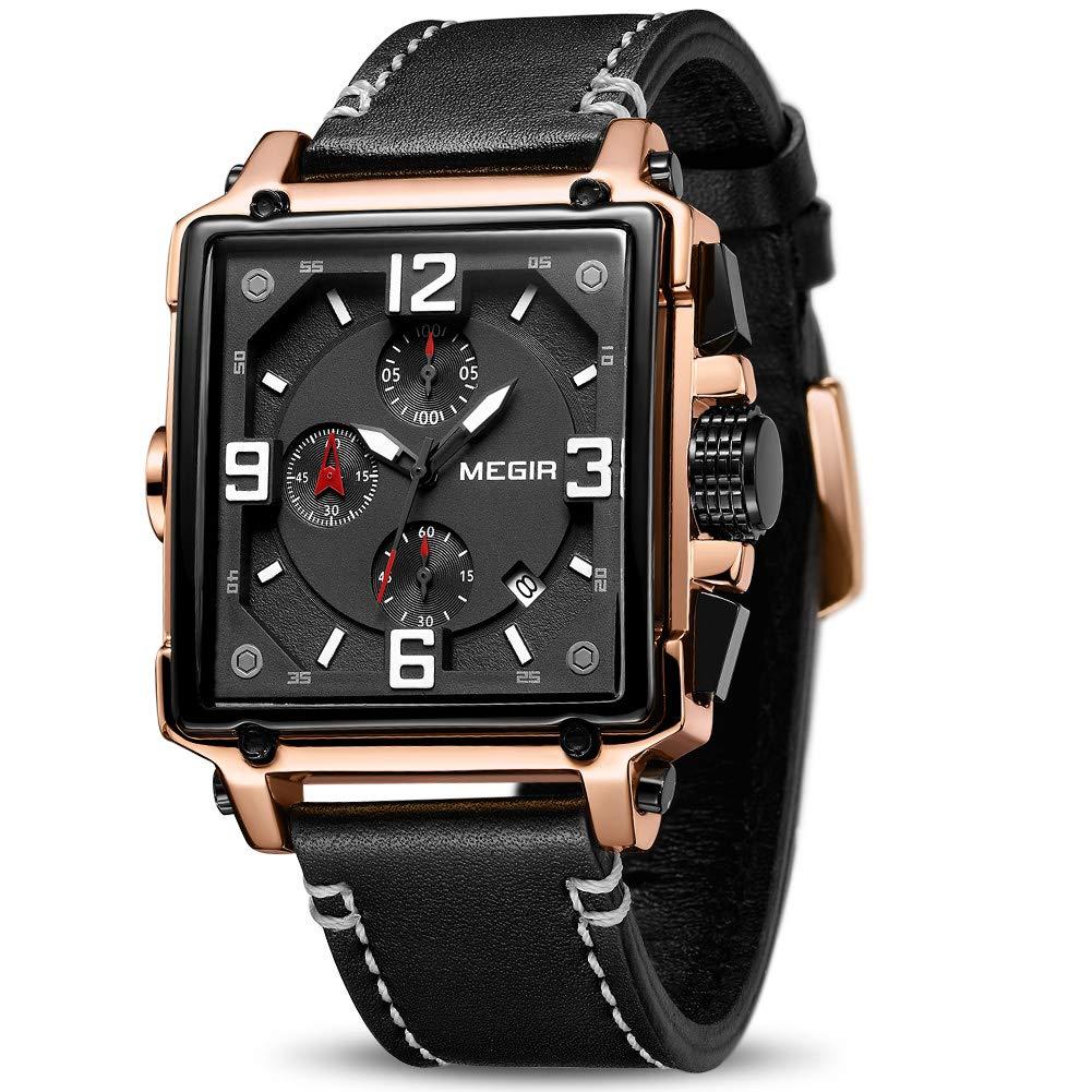 MEGIR Men's Analogue Army Military Chronograph Luminous Quartz Watch with Fashion Leather Strap for Sport & Business Work (2061 Rose/Black) by MEGIR