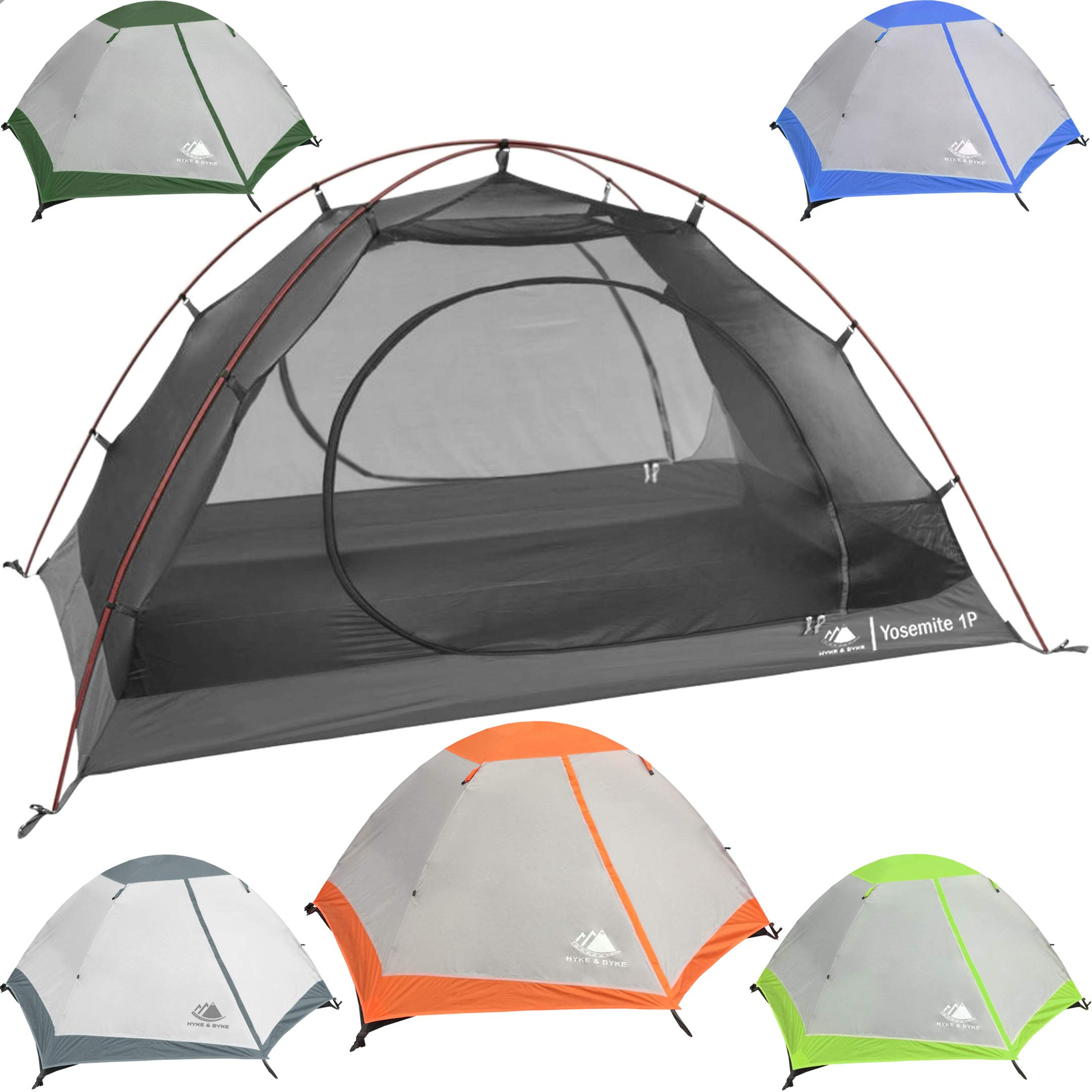 Hyke & Byke Yosemite 1 Person Backpacking Tent with Footprint - Lightweight Two Door Ultralight Dome Camping Tent (1P - Orange)