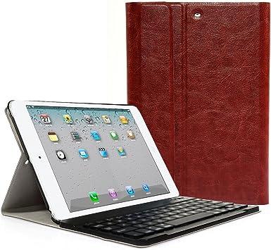 CoastCloud - Funda de Cuero Sintético marrón con Teclado Bluetooth QWERTY espanol para ipad 2/ipad 3/ipad 4/iPad air(ipad 5)/ipad Air 2(iPad 6)/iPad ...