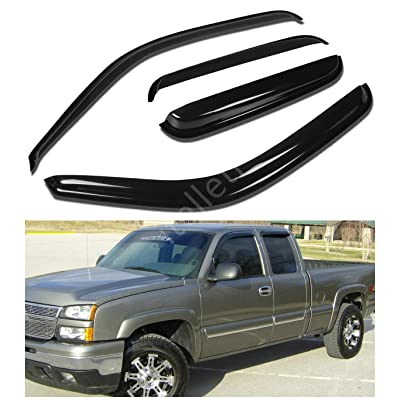 itelleti 4pcs Outside Mount Dark Smoke Sun/Rain Guard Front+Rear Tape-On Auto Window Visors For 99-06 Chevy Silverado/GMC Sierra 07 Classic Body 1500/2500/3500 HD Extended Cab With Half Size Rear Door: Automotive