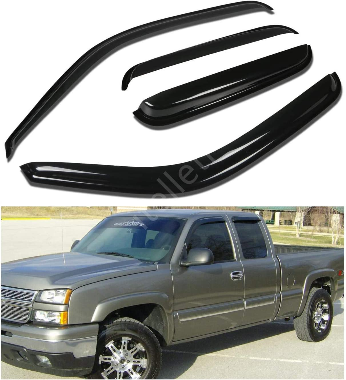 itelleti 4pcs Outside Mount Dark Smoke Sun//Rain Guard Front+Rear Tape-On Auto Window Visors For 99-06 Chevy Silverado//GMC Sierra 07 Classic Body 1500//2500//3500 HD Extended Cab With Half Size Rear Door