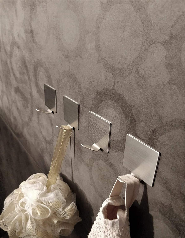 Handtuchhalter Bad ohne bohren Max Set 6 Stk. 5kg selbstklebende Haken aus Edelstahl geb/ürstet f/ür K/üche und Badezimmer Wandhaken selbstklebend Handtuchhaken,Klebehaken