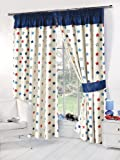 Dreamscene Luxury Fully Lined Blackout Curtains with Tiebacks, Blue, 53 x 72-Inch