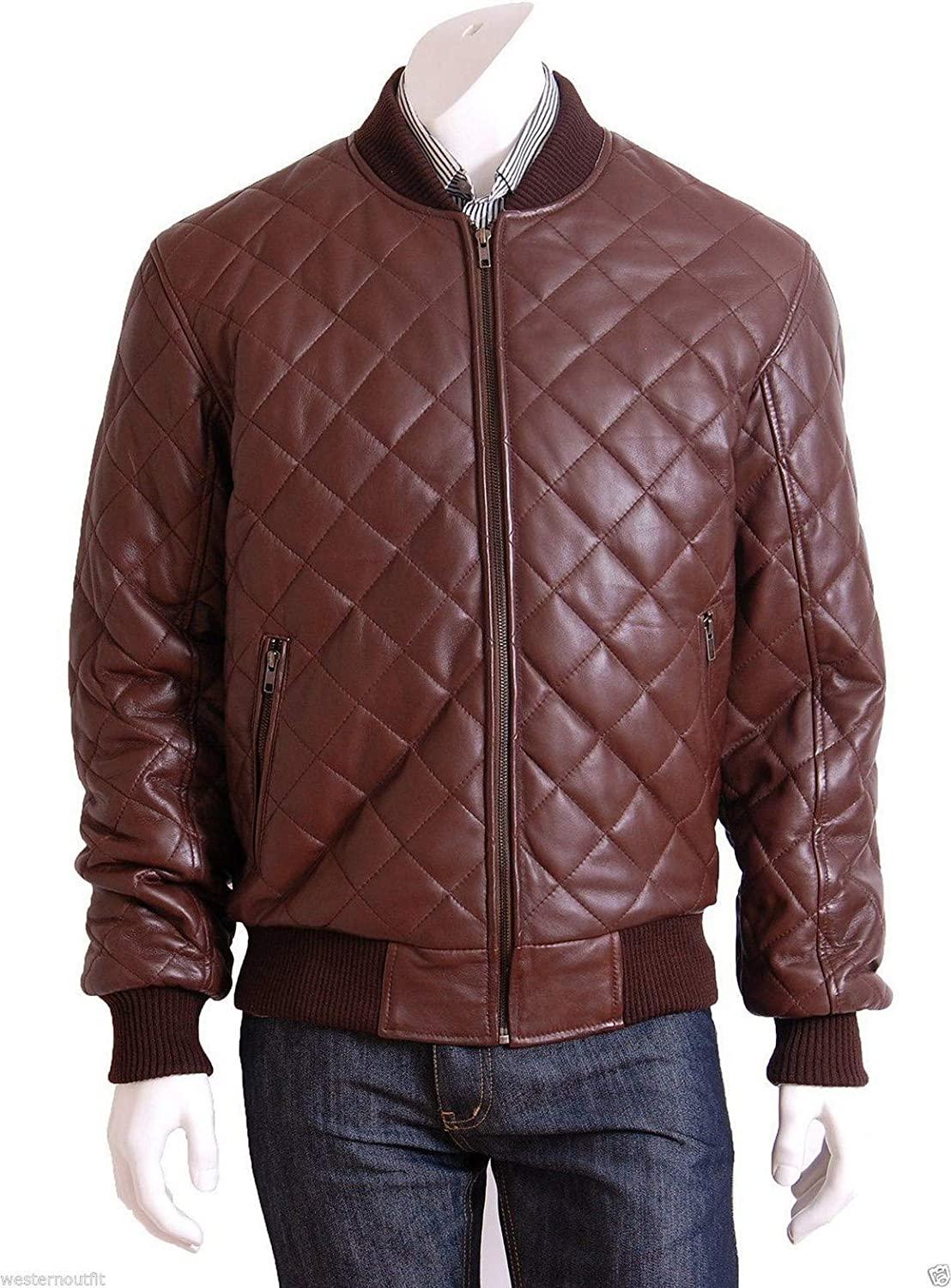 Woojo Mens Leather Biker Jacket WJ046