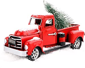 "Beewarm Vintage Red Truck Decor 6.7"" Handcrafted Red Metal Truck Car Model for Christmas Decoration Table Decoration"