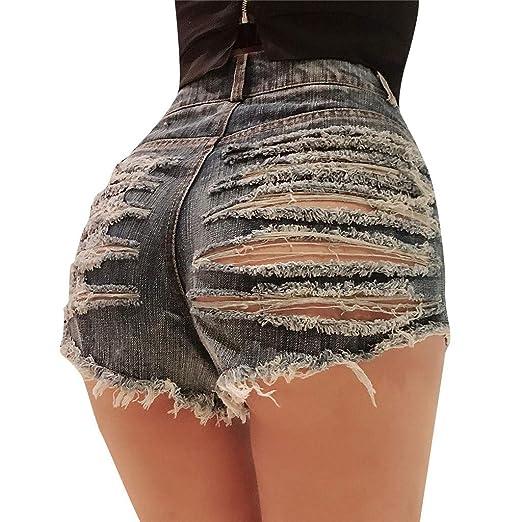 e30b1b3eb7d8 Women Destroyed Hole Denim Shorts Women's Cut Off Frayed Raw Hem Ripped  Stretchy Mini Hot Pants