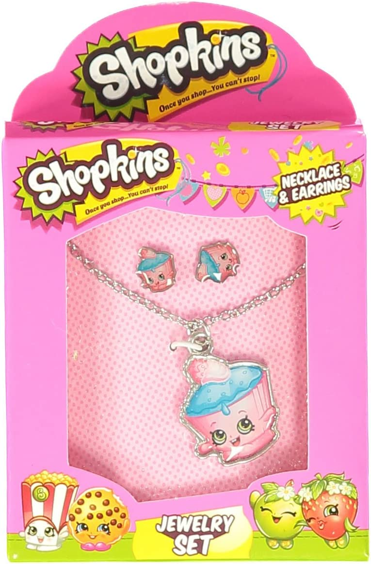 Shopkins Little Girls' Food Cupcake Necklace Earring Jewelry Set