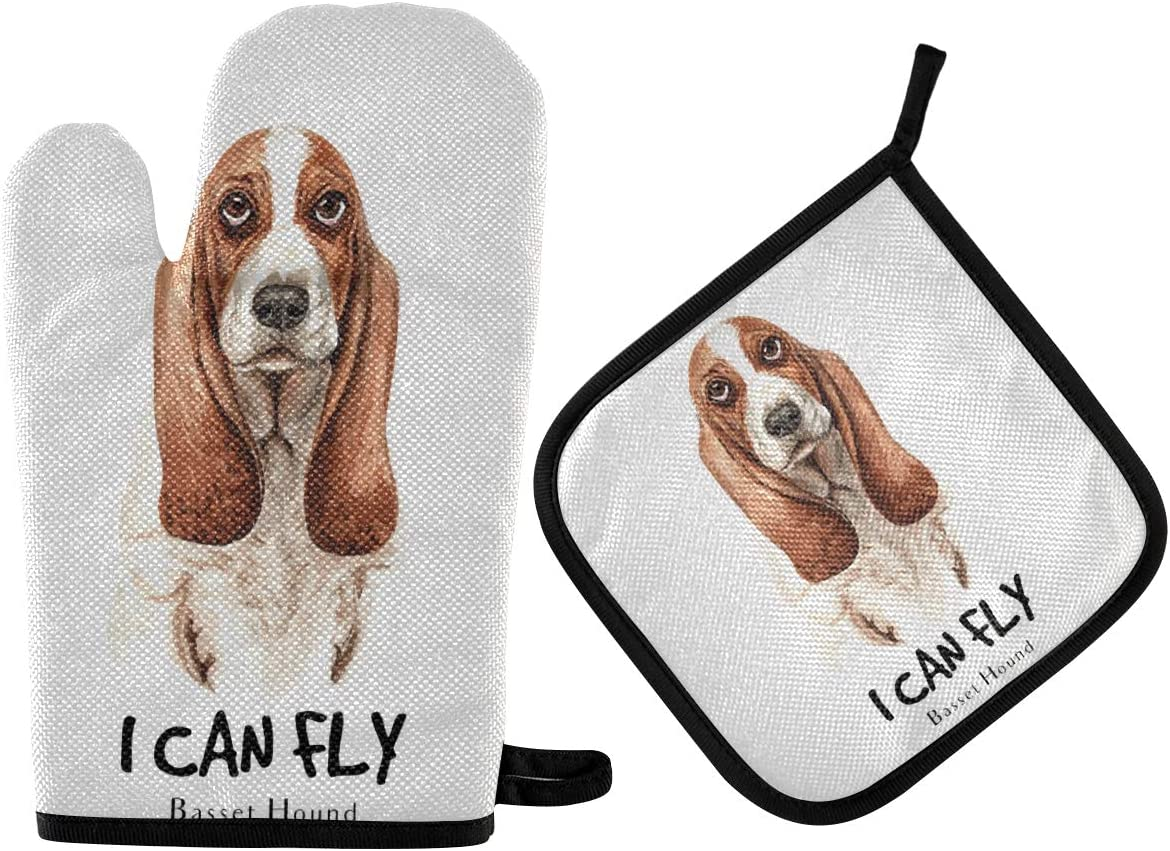 DOMIKING Oven Mitts Pot Holders Sets - Basset Hound Dog Watercolor Oven Gloves Heat Resistant Hot Pads Non-Slip Potholders for Kitchen Cooking Baking Grilling