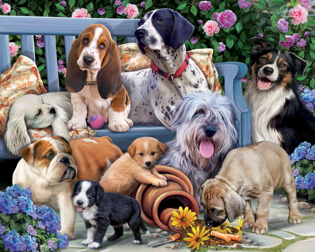 Dogs on a Bench Jigsaw Puzzle 1000 Piece Vermont Christmas Company