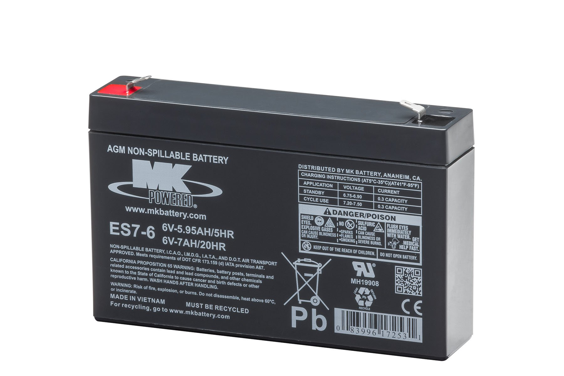 MK Battery ES7-6 Maintenance-Free Rechargeable Sealed Lead-Acid Battery