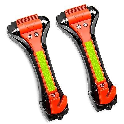 GOOACC Car Hammer Seatbelt Cutter Auto Car Hammer Breaker Window Breaker Emergency Escape Tool Life Saving Survival Kit
