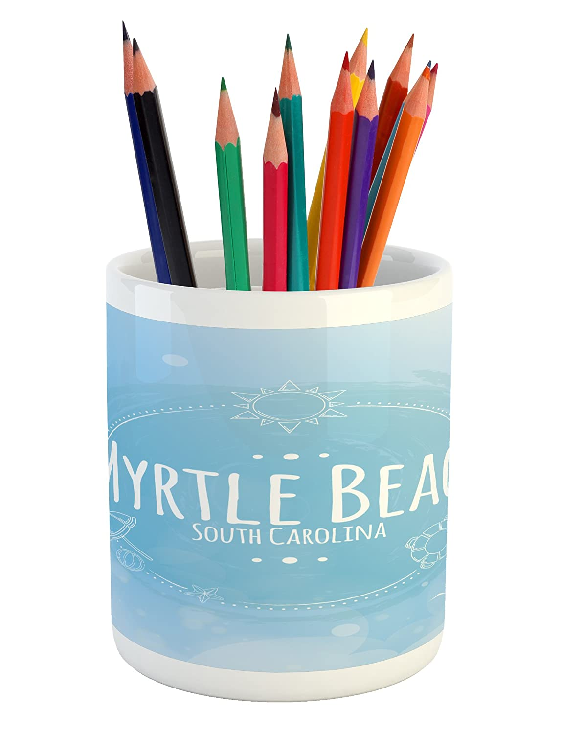 Lunarable Myrtle Beach Pencil Pen Holder, South Carolina Beach Lettering with Sun Umbrella and Starfish Sketch, Printed Ceramic Pencil Pen Holder for Desk Office Accessory, Blue Baby Blue White