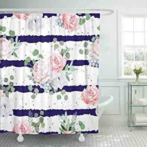 Emvency Shower Curtain Navy Striped Bouquets Rose Peony Anemone Brunia Flowers Eucalyptus Leaves Pattern Speckled Waterproof Polyester Fabric 72 x 72 inches Set Hooks