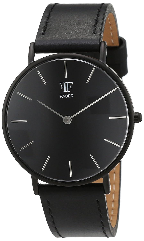 Faber Time Unisex-Armbanduhr Analog Quarz Leder F501BK