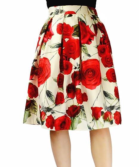 74b531b50 YSJERA Women's High Waist A-Line Pleated Skater Skirt Floral Rose Print OL  Midi Dress