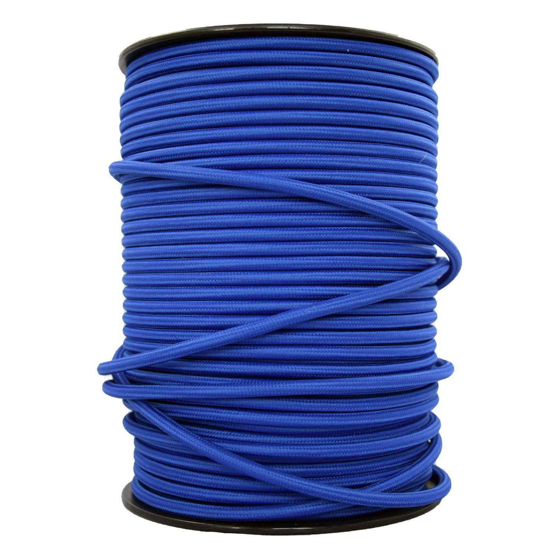 - Cable de luz con revestimiento textil Cable textil trenzado de 10 Metro smartect Cable para l/ámparas de tela en color Azul Marino 3 x 0,75 mm/² 3 hilos