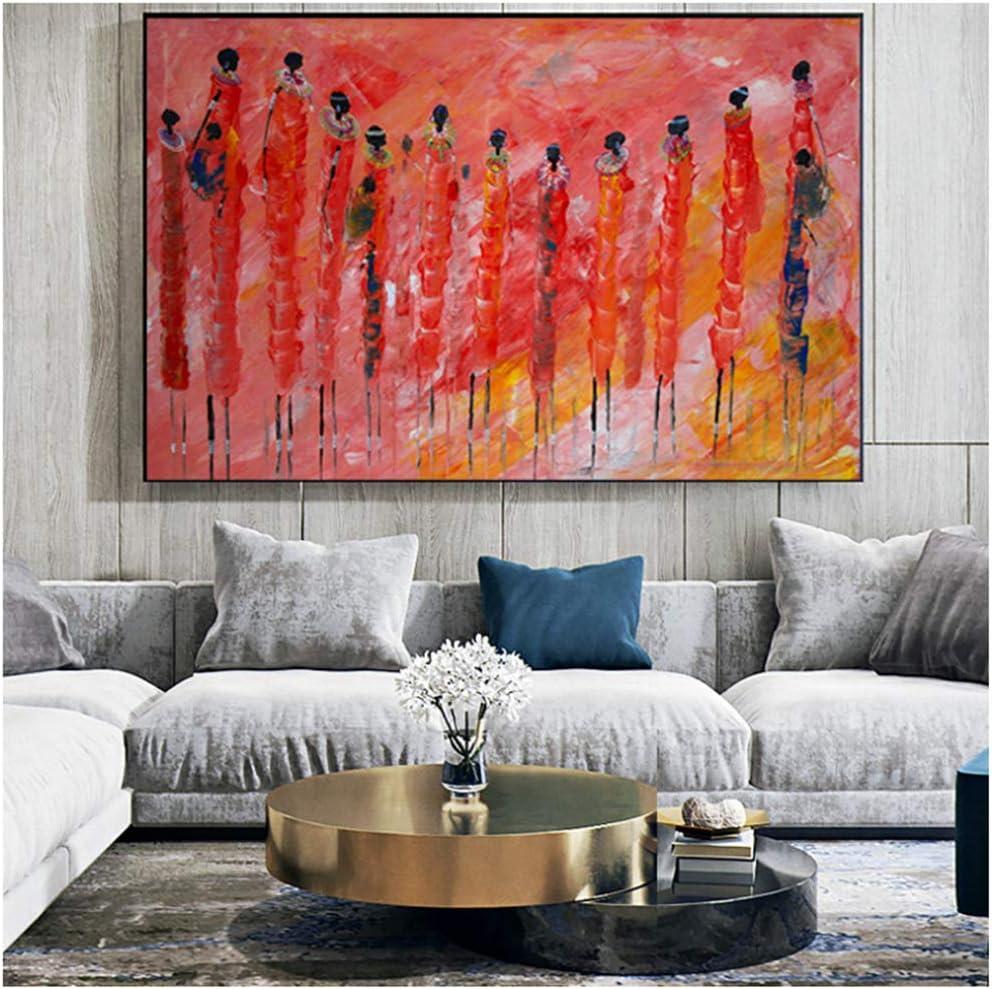 Mujeres africanas Coloridas Etnicos Tribal Art Paintings Cuadro Abstracto de Pintura al óleo para Sala de Estar Impresión de la Lona -70x100cm Sin Marco