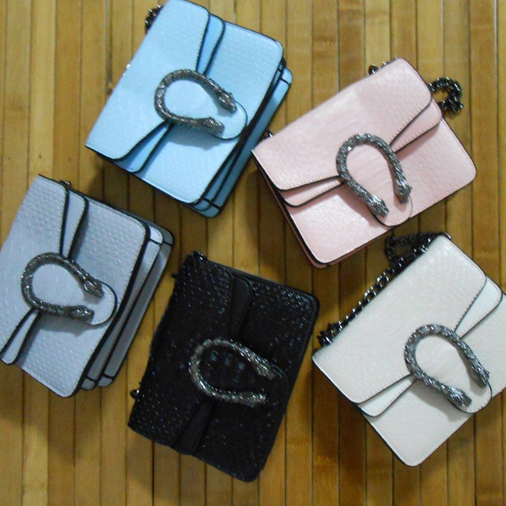 Windwelle Damen PU Leder Quadratische Quadratische Quadratische Kette Handtasche Schultertasche Messenger Bag Umhängetasche  ( Schwarz- L ) B073XR5FVC Messenger-Bags 530d7c