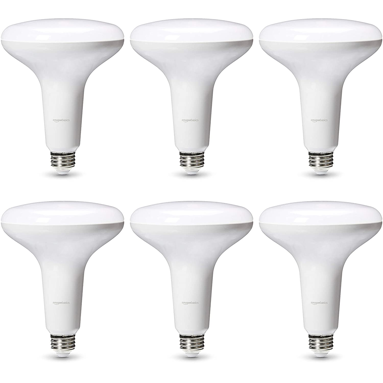 AmazonBasics Commercial Grade LED Light Bulb | 75-Watt Equivalent, BR40, Soft White, Dimmable, 6-Pack