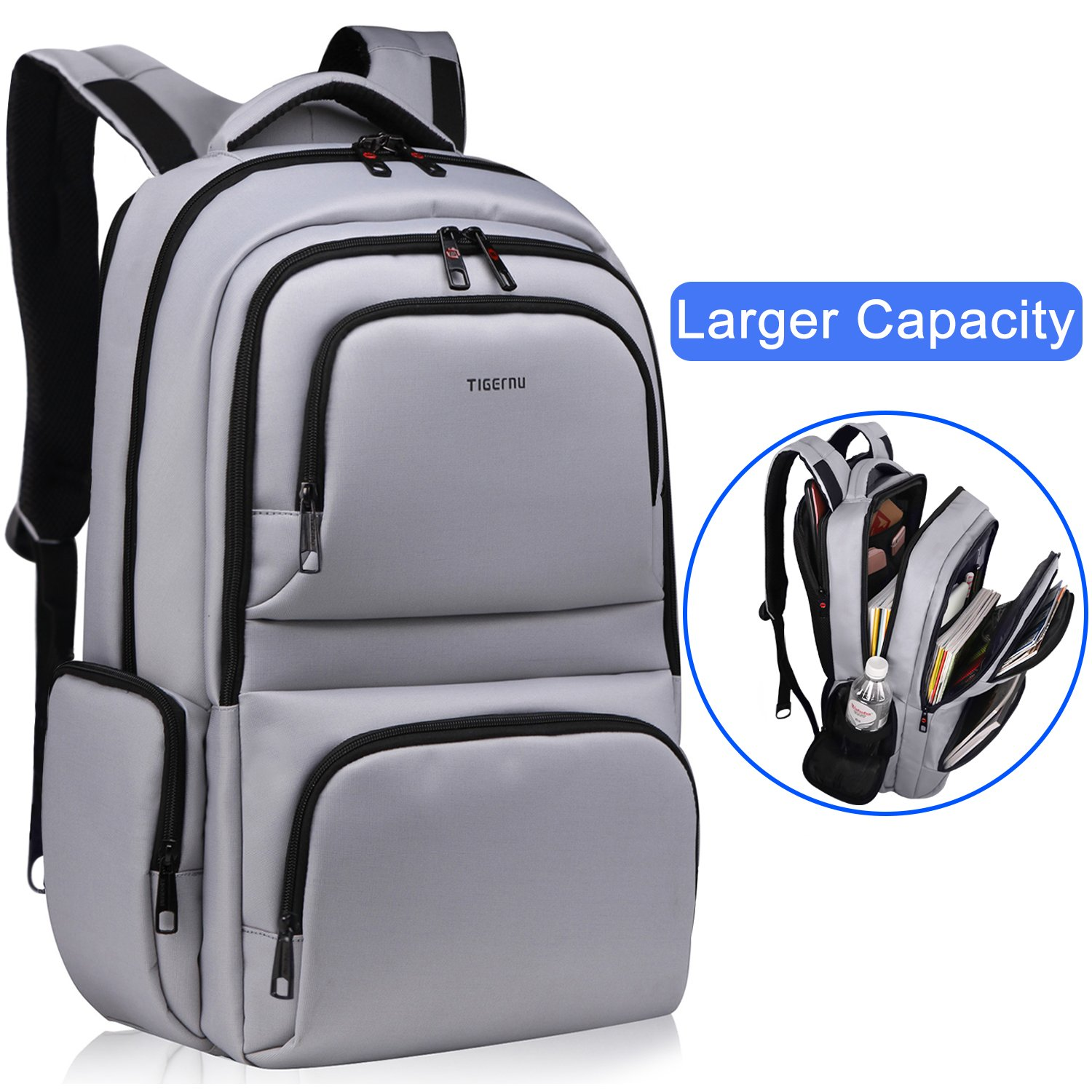 Kuprine Water Resistant Slim Business Laptop Backpacks for Men Women Lightweight College Computer Backpack