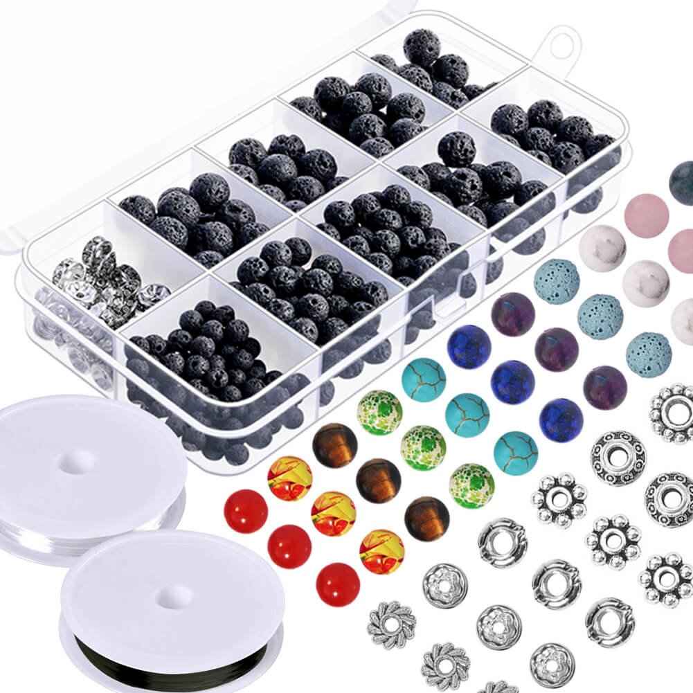 Paxcoo 500pcs Lava Beads Stone Rock with Chakra Beads and Spacer Beads for Essential Oil and Jewelry Making (500pcs) 4336814792