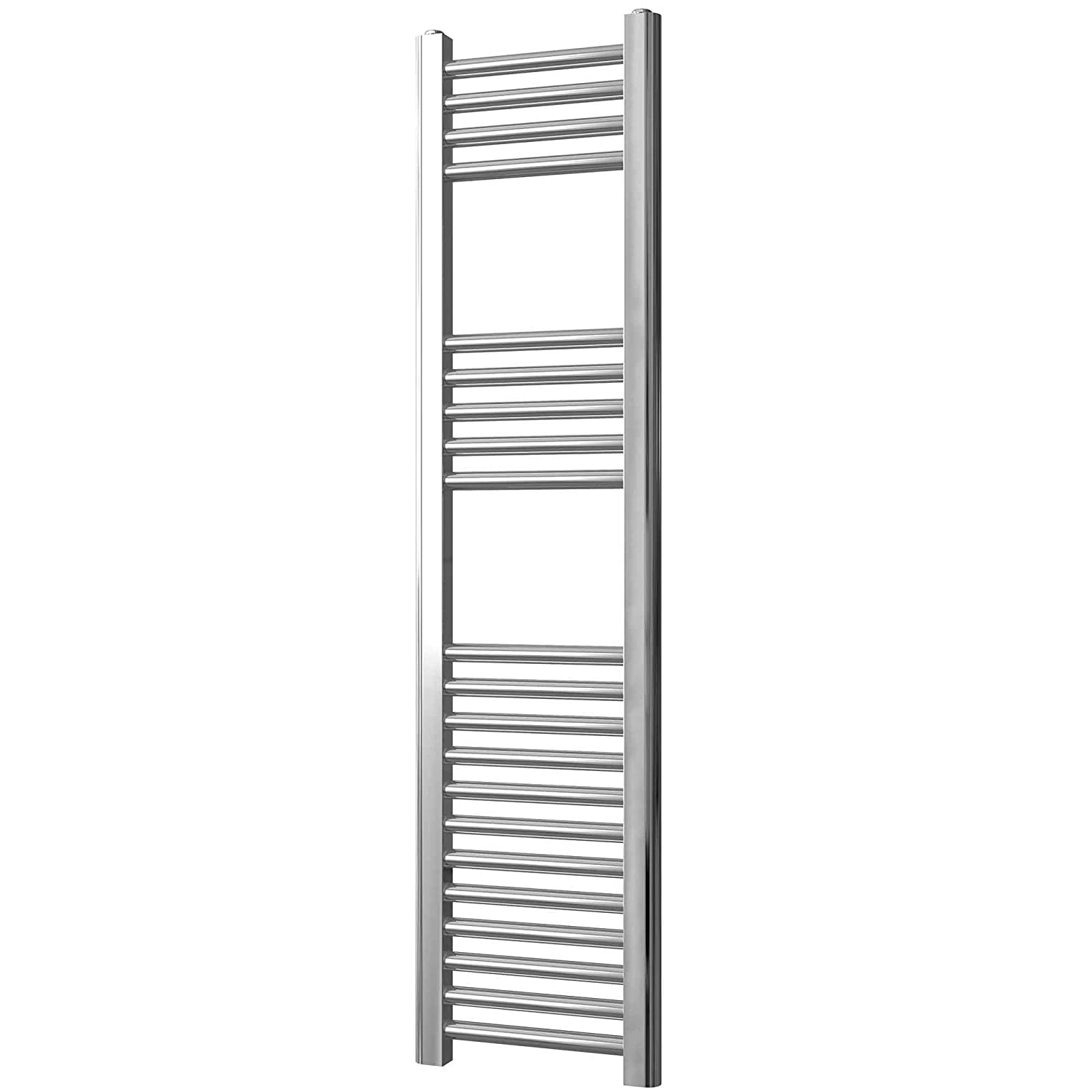Greened House Chrome Straight Heated Towel Rail 300mm wide x 1200mm high Flat Central Heating Towel Radiator