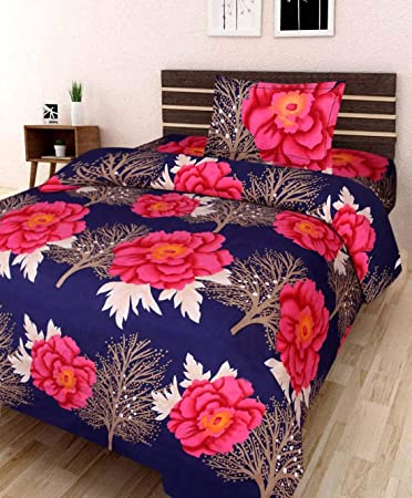 Swiss India 3D Printed 180 TC Polycotton Single Bedsheet with 1 Pillow Cover (Multicolour)
