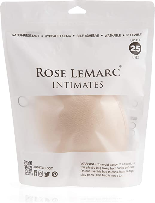Rose LeMarc Intimates Strapless Comfort Oval Push up Adhesive Backless Lift Bra for Women Black