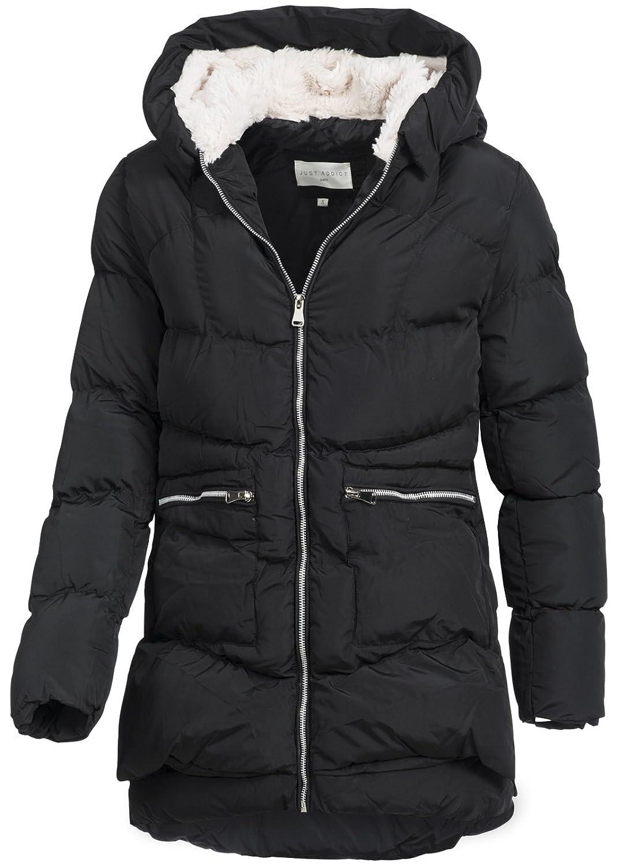 in vogue Damen Winterparka IV096, warmer Winter-Parka mit Kapuze mit Teddyfutter, schwarz