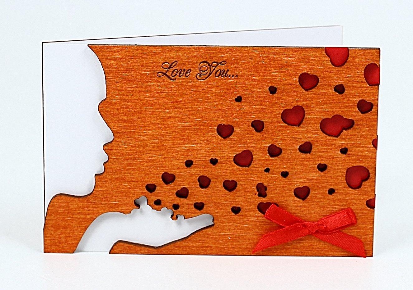 Amazon Handmade Real Wood Kiss Greeting Card Novelty Birthday