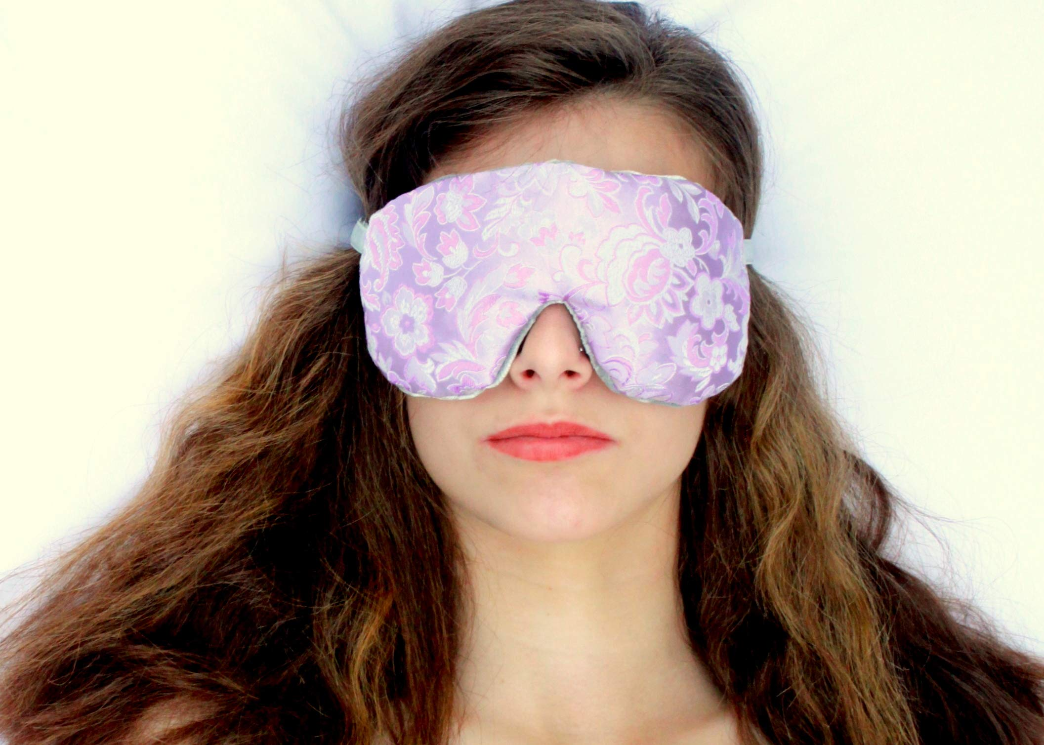 Weighted Sleep Eye Mask Pillow Handmade by Candi Andi - Adjustable Strap - Travel - Flax Seed Filled - Lavender Scented or Unscented - Satin Brocade and Crushed Velvet - Lovely Lilac - TEMLF-LL