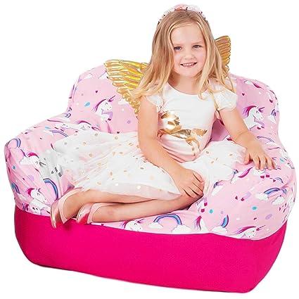 Genial Pink Unicorn Kids Stuffed Animal Storage Bean Bag Chair Cover | Comfy Girls  Cover