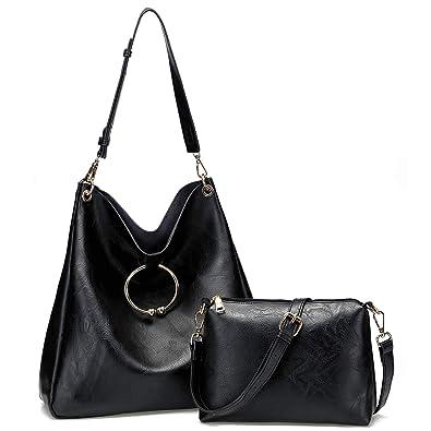 c29359c8c0d4 Women s Soft Faux Leather Hobo Handbags Ladies Shoulder Bag Tote Purse  (Black)