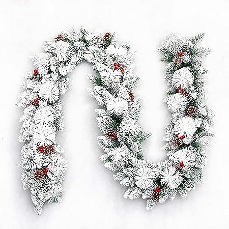 Corona de Navidad 270 x 30 cm Rey de la Nieve Abeto Guirnalda con piñas guirnaldas de Navidad for Escalera escaleras chimeneas del árbol de Navidad Decoración Guirnalda de la Puerta Navidad:
