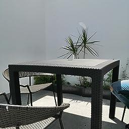 Keter - Mesa de comedor exterior Quartet de 4 plazas, Color marrón ...