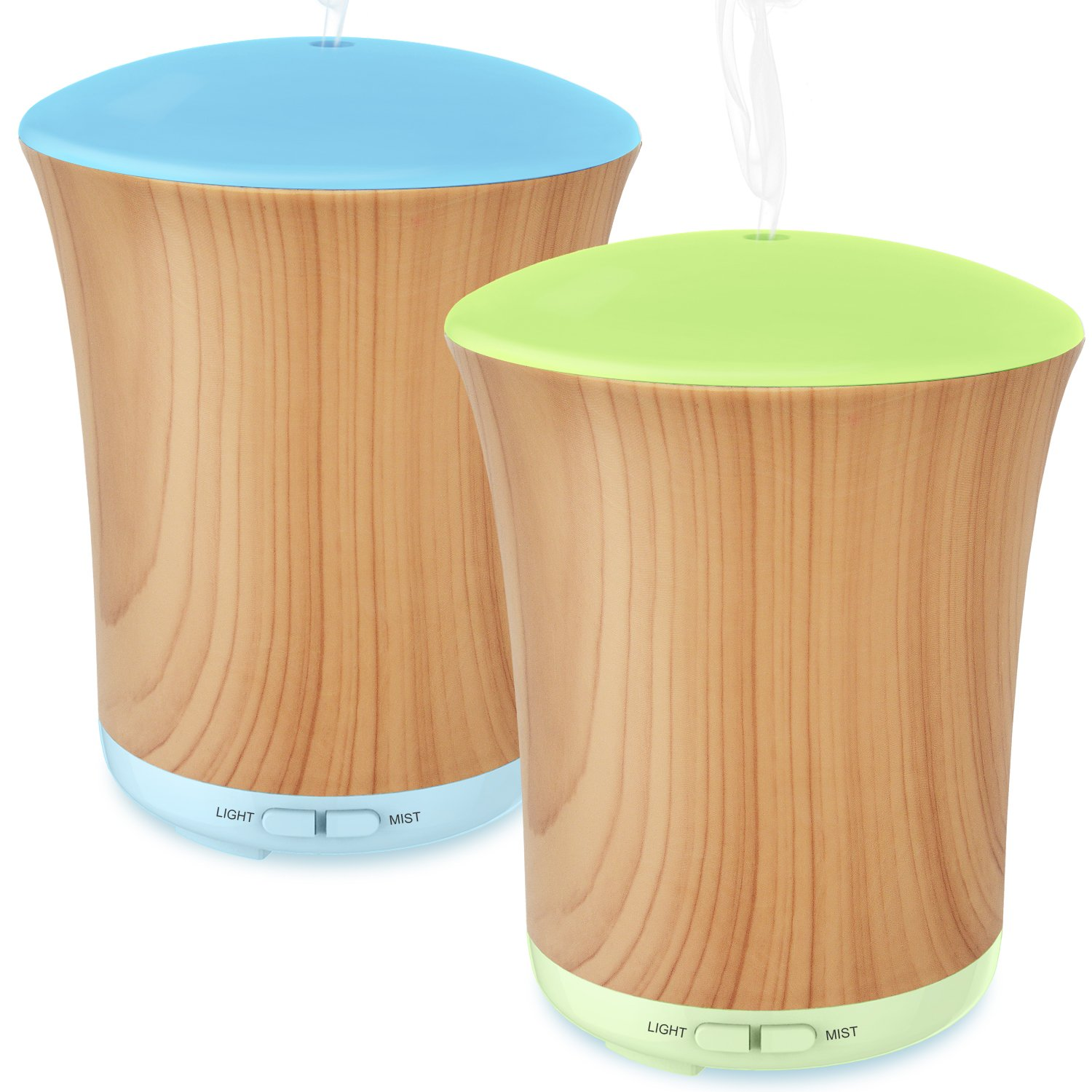 Essential Oil Diffuser, 2 Pack ZOOKKI 200ml Wood Grain Aroma Diffuser Ultrasonic Cool Humidifier with Changeable 8 Color LED and Waterless Auto Shut-Off for Home Office Baby