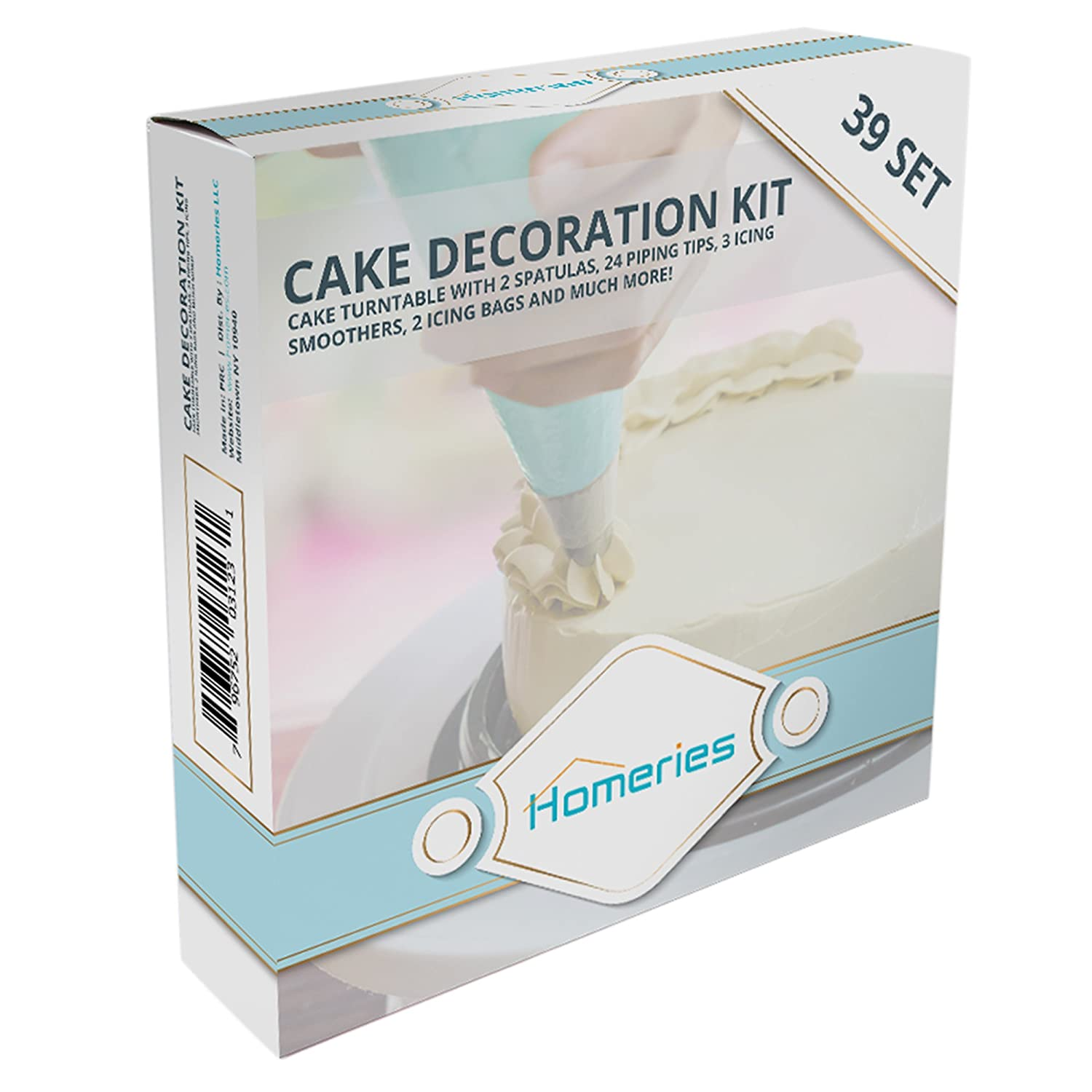 Best for Cake Decorating Training and Party Planning Display Homeries 6-Piece Cake Decorating Supplies Kit Turntable with 3 Decorating Comb//Icing Smoothers 2 Stainless Steel Icing Spatulas