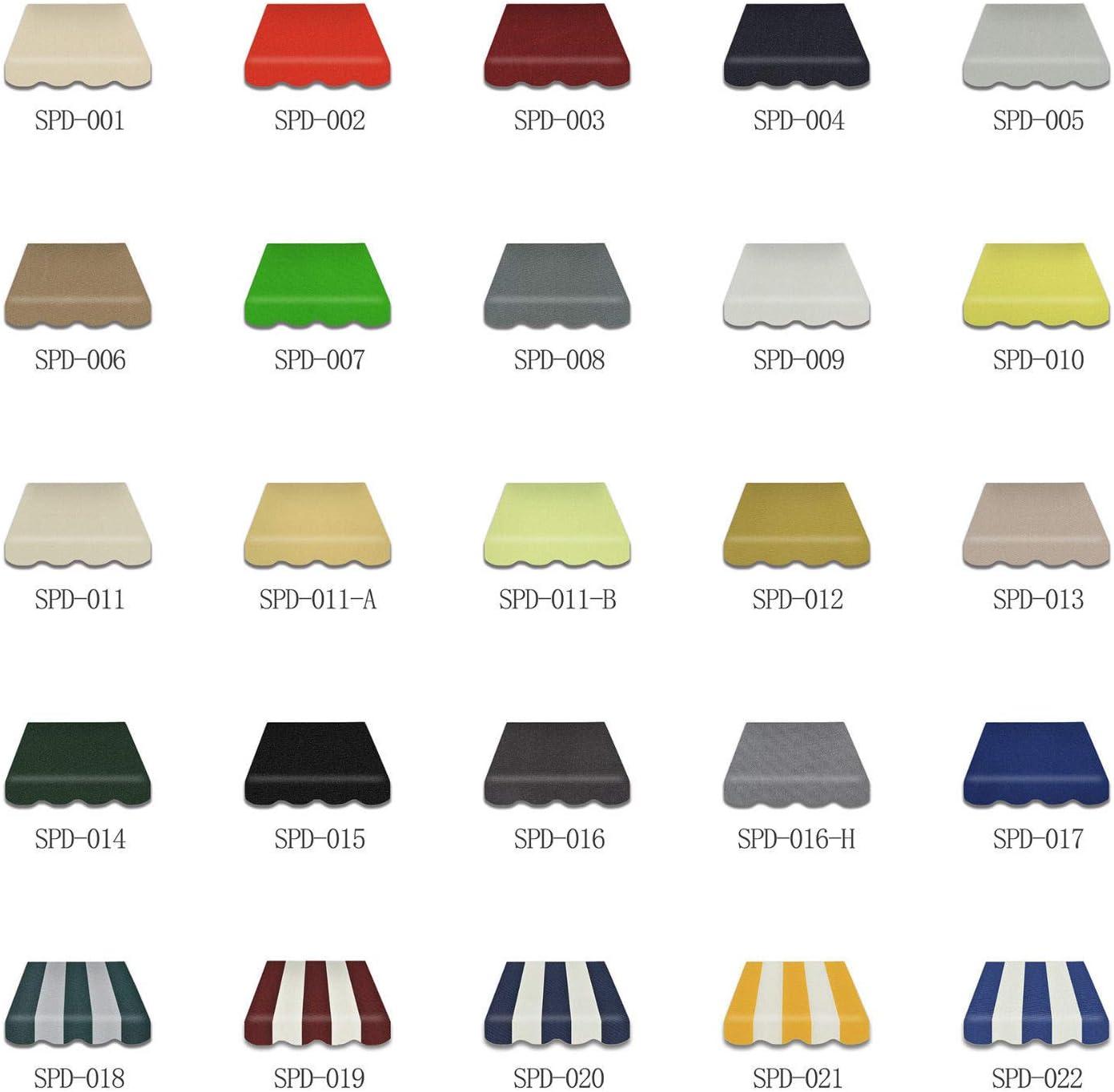 Home /& Trends Preiswert Markisen Tuch Markisenbespannung Ersatzstoffe Diverse Fraben Ma/ße 3,5 x 3 m Markisenstoffen inkl SPD042 Volant fertig gen/äht mit Umrandung