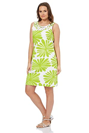 05561b2e529 Roman Originals Women Summer Beach Day Shift Dress - Cotton Mix Daisy Print  Shift Dresses - Lime Green Yellow - Lime - Size 20  Amazon.co.uk  Clothing