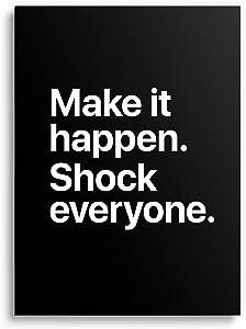 Large Motivational Poster with Sleek Design - (18''x24'' Inches) Inspirational Wall Art Decor for Home, Office, Bedroom, Living Room, Gym, Classroom, Dorm Room, Entrepreneur - Premium Prints & Gifts - Make It Happen - UNFRAMED